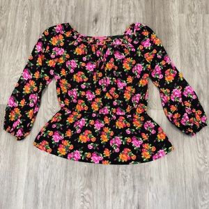 Betsey Johnson Floral long Sleeve Top
